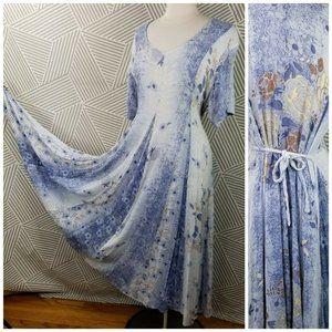 Vintage Grunge Flare Dress Floral Gauze size Large